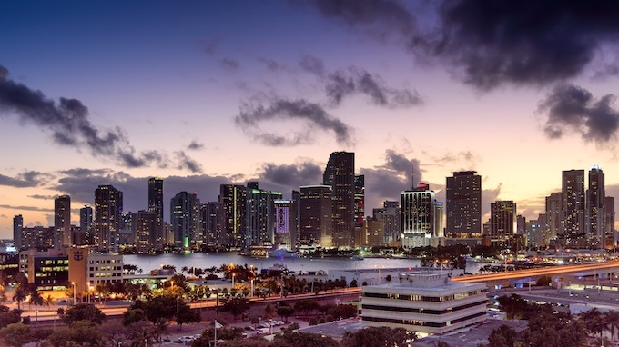 Skyline of the City of Miami [Florida Slot Machine Casino Gambling in 2019]