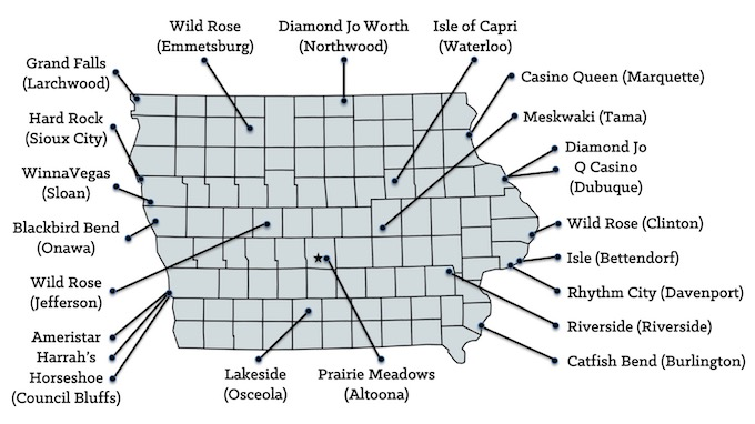 Map of Iowa Casinos [Iowa Slot Machine Casino Gambling in 2019]