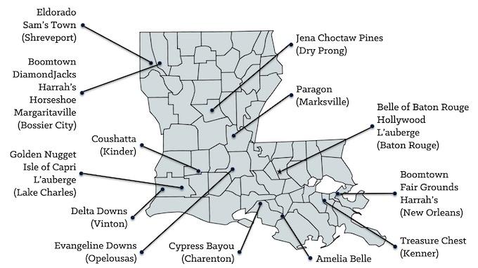 Map of Louisiana Casinos [Louisiana Slot Machine Casino Gambling in 2020]