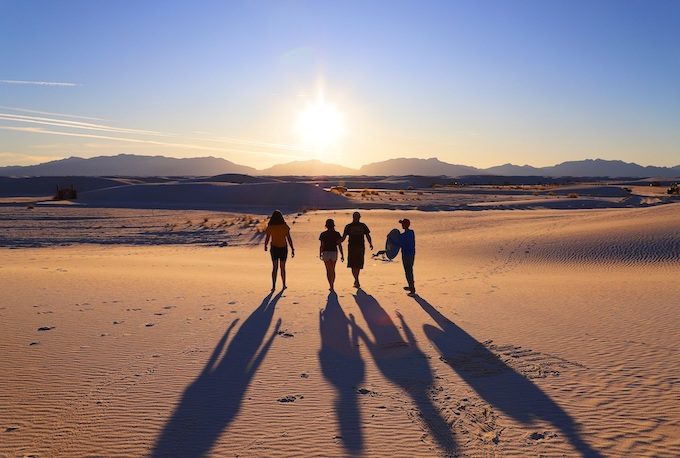 Family Walking into Setting Sun [New Mexico Slot Machine Casino Gambling in 2020]