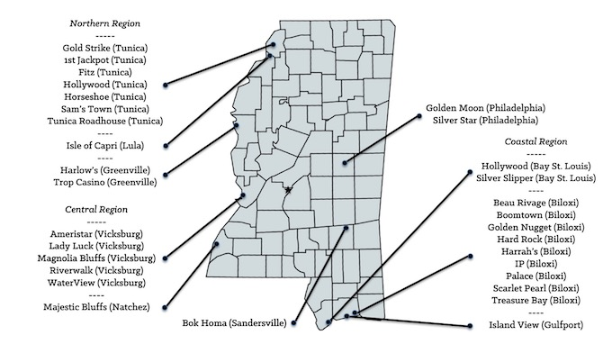 Map of Mississippi Casinos [Mississippi Slot Machine Casino Gambling in 2020]