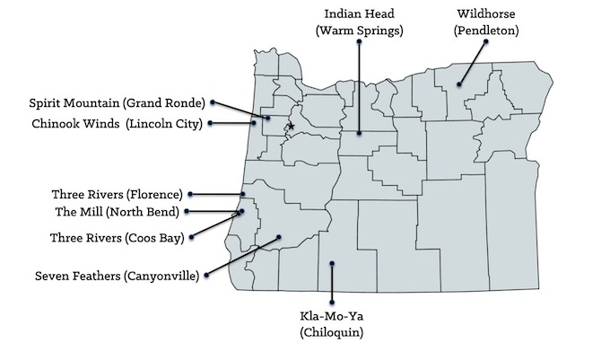 Map of Oregon Casinos [Oregon Slot Machine Casino Gambling in 2020]