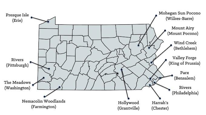 Map of Pennsylvania Casinos [Pennsylvania Slot Machine Casino Gambling in 2020]
