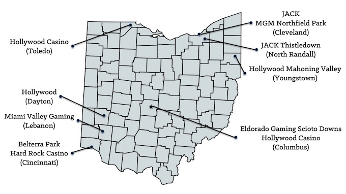 Map of Ohio Casinos [Ohio Slot Machine Casino Gambling in 2020]