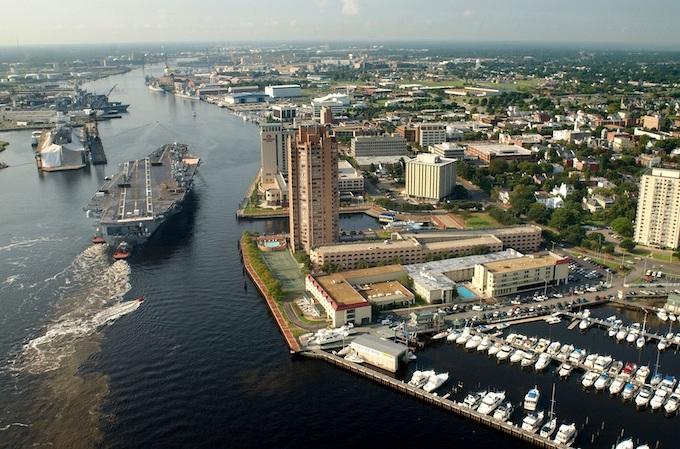 Portsmouth Harbor Aerial View [Virginia Slot Machine Casino Gambling in 2020]
