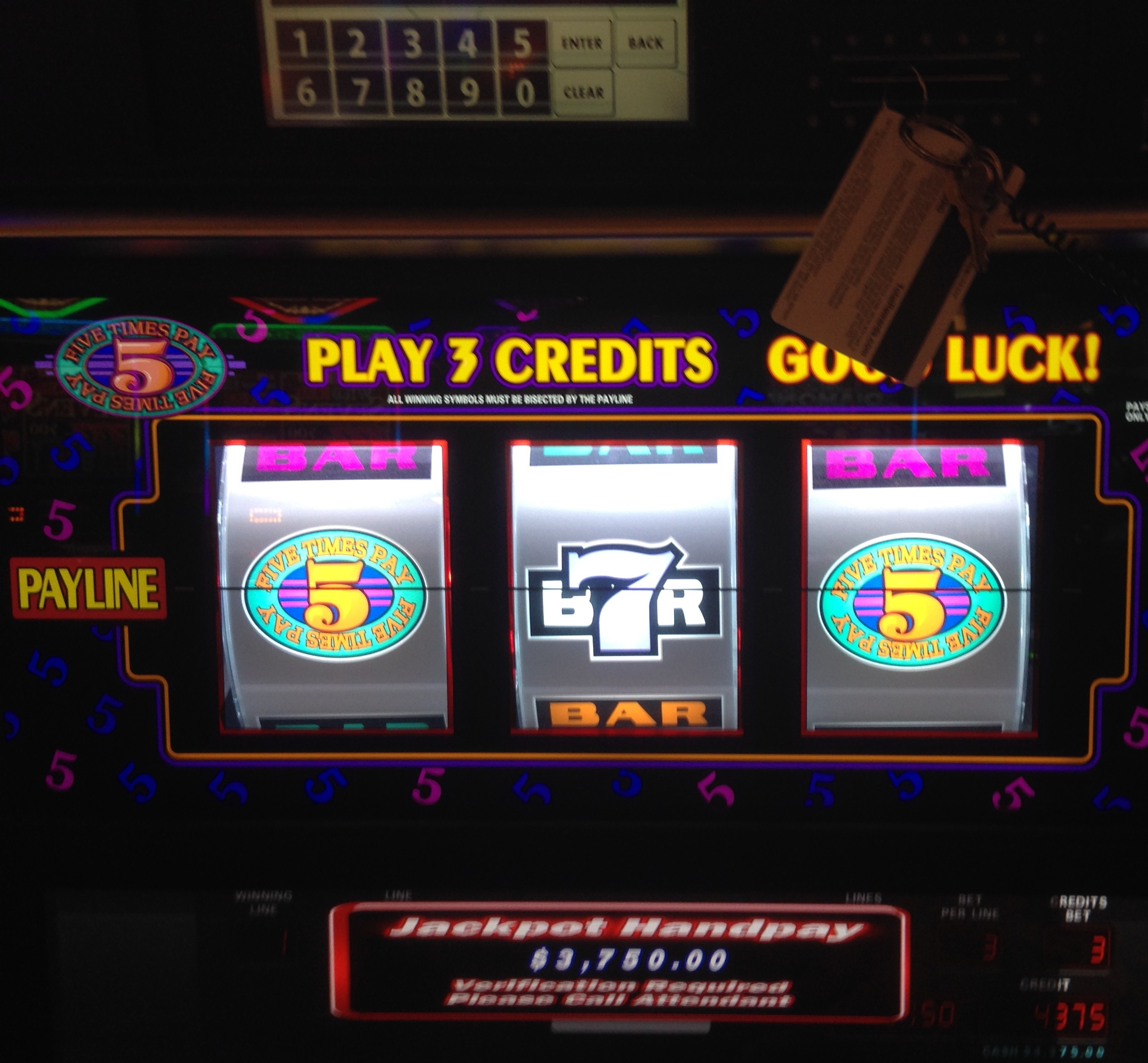 Second taxable jackpot of that 1st night ($3,750).