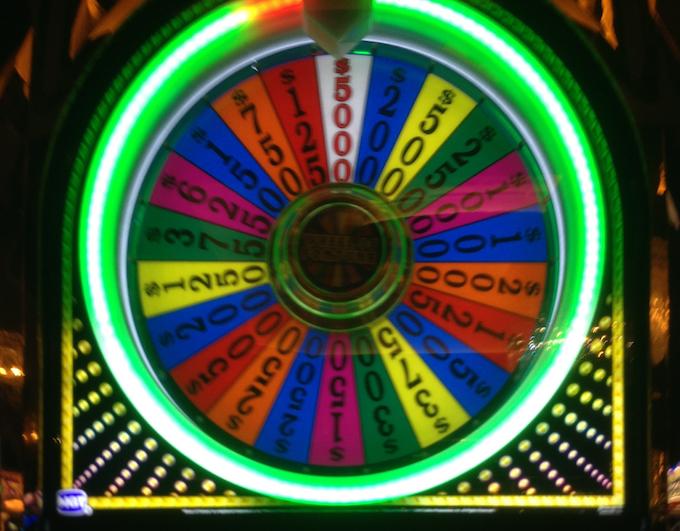 Sixth taxable jackpot of that 1st night - $5,000 on the bonus wheel (Professor Slots 2017).