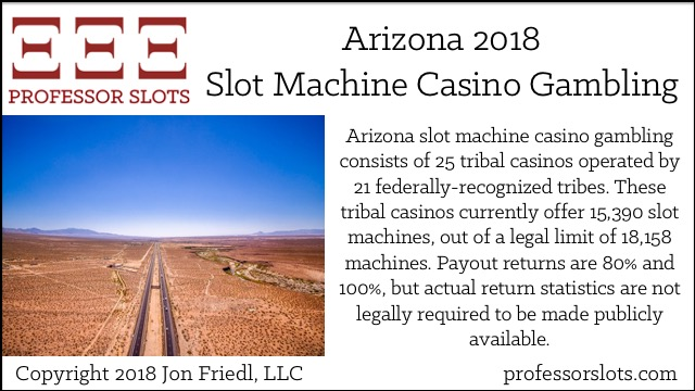 Arizona slot machine casino gambling consists of 25 tribal casinos operated by 21 federally-recognized tribes. These tribal casinos currently offer 15,390 slot machines, out of a legal limit of 18,158 machines. Payout returns are 80% and 100%, but actual return statistics are not legally required to be made publicly available.