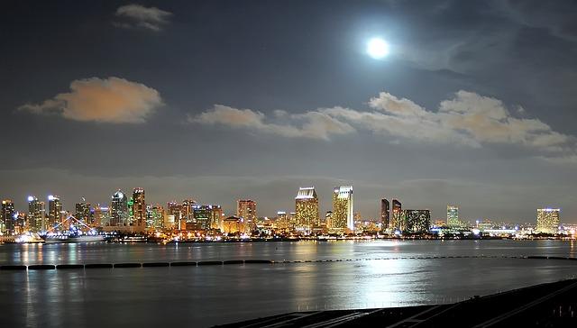 The City of San Diego at Night (California Slot Machine Casino Gambling 2018).