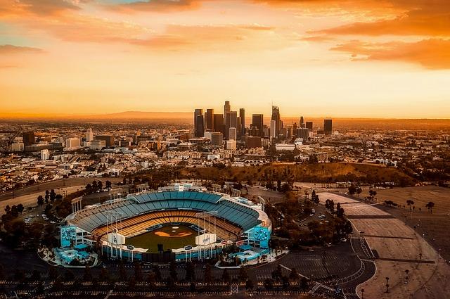 Los Angeles Skyline and Stadium (California Slot Machine Casino Gambling 2018).