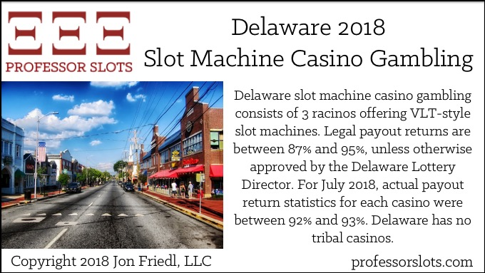 Delaware slot machine casino gambling consists of 3 racinos offering VLT-style slot machines. Legal payout returns are between 87% and 95%, unless otherwise approved by the Delaware Lottery Director. For July 2018, actual payout return statistics for each casino were between 92% and 93%. Delaware has no tribal casinos.
