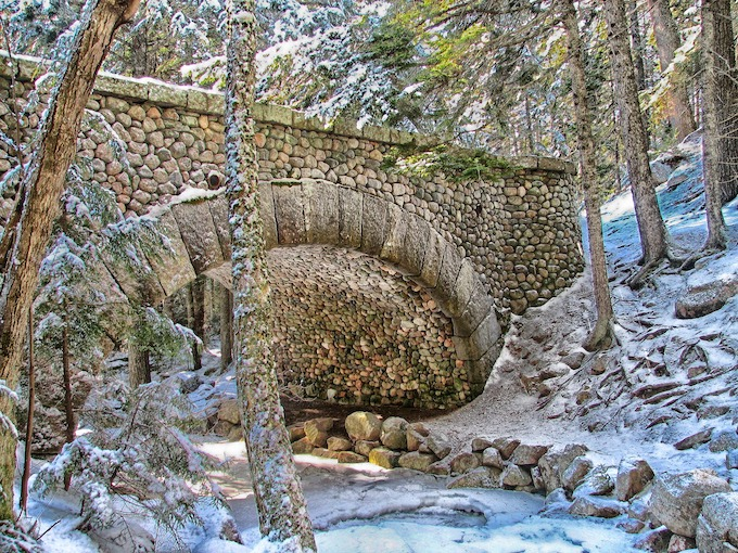 Stone Bridge over Creek in Winter [Maine Slot Machine Casino Gambling 2018]