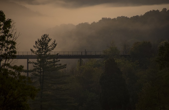 Kentucky Slot Machine Casino Gambling: Bridge in Bourbon County on a misty morning.