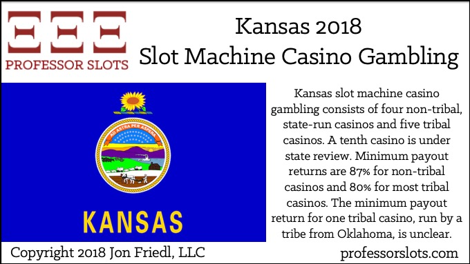 Kansas slot machine casino gambling consists of four non-tribal, state-run casinos and five tribal casinos. A tenth casino is under state review. Minimum payout returns are 87% for non-tribal casinos and 80% for most tribal casinos. The minimum payout return for one tribal casino, run by a tribe from Oklahoma, is unclear.