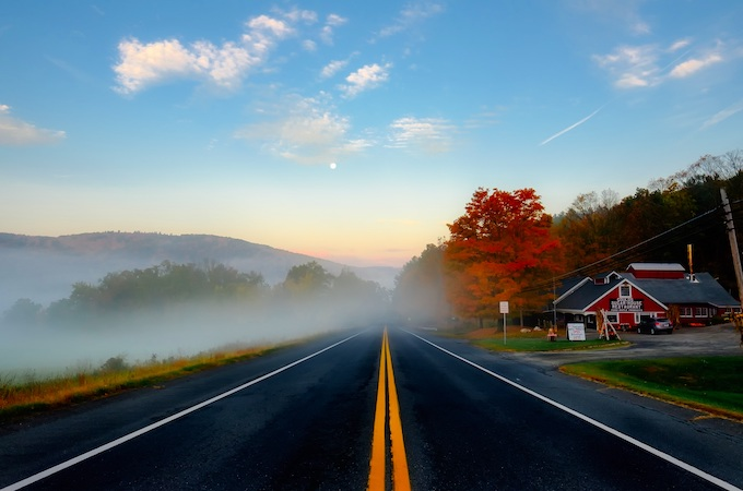 Misty Morning Road in Autumn [Massachusetts Slot Machine Casino Gambling 2018]