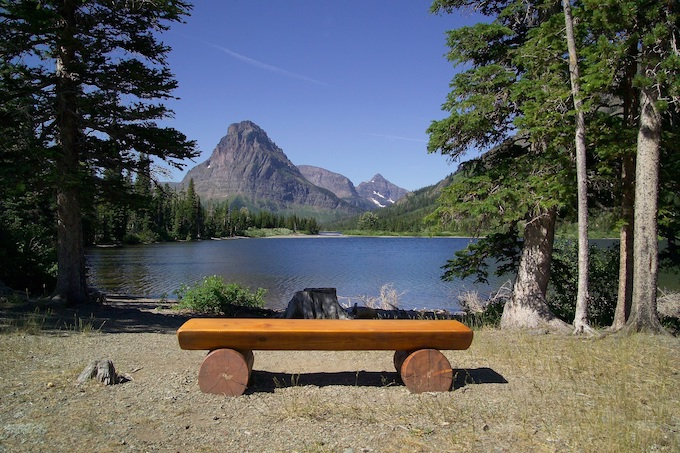 Park Bench Made of Logs at Pray Lake [Montana Slot Machine Casino Gambling 2019]