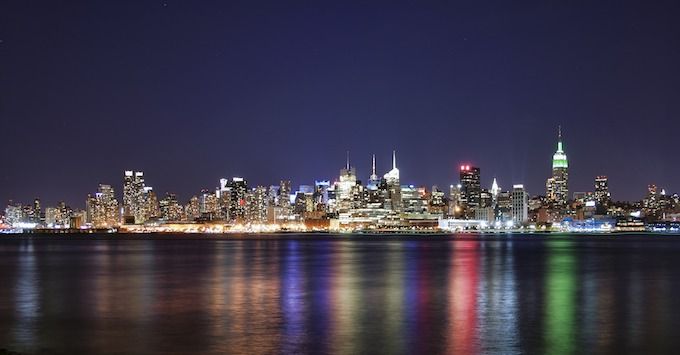 New York Slot Machine Casino Gambling: New York City nighttime skyline.