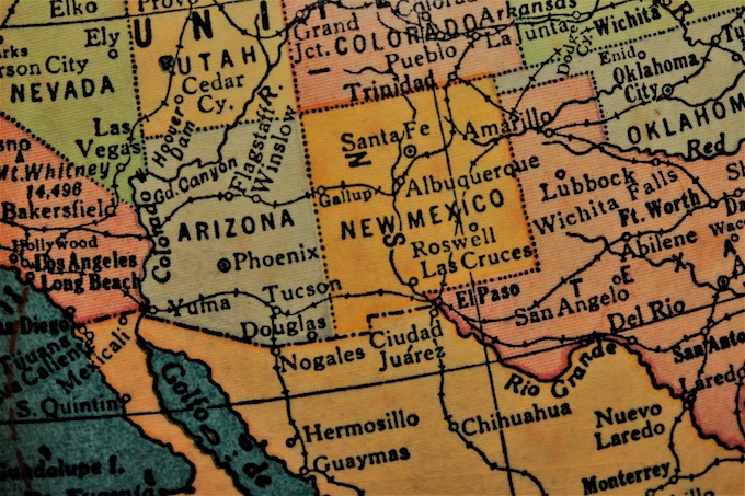 New Mexico Slot Machine Casino Gambling: A map of the state.