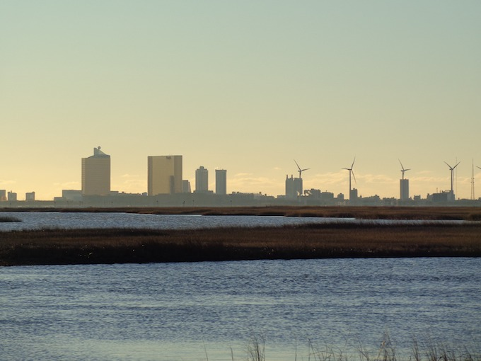 New Jersey Slot Machine Casino Gambling: Atlantic City with water and windmills.