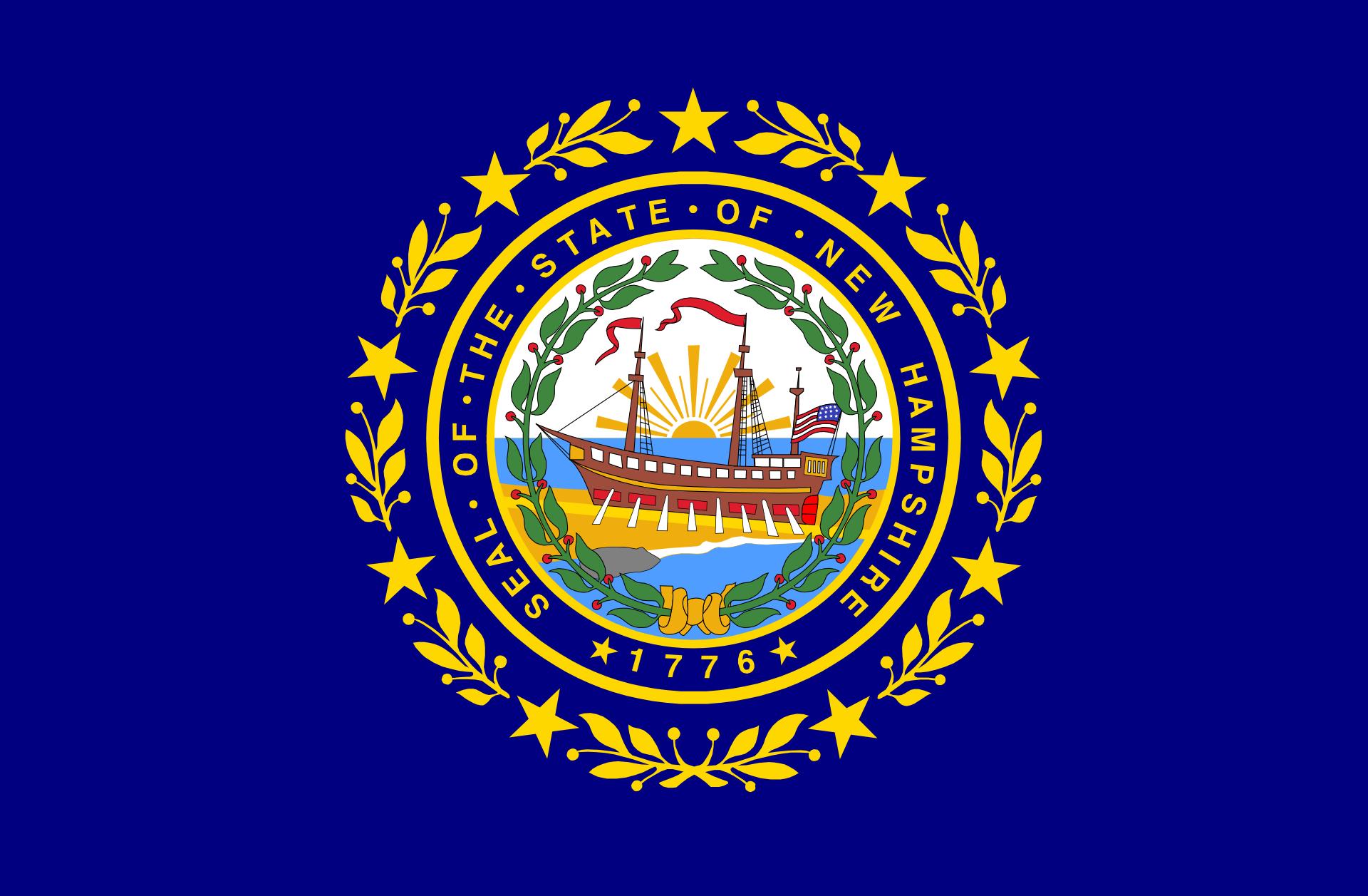 New Hampshire state emblem and New Hampshire Slot Machine Casino Gambling.