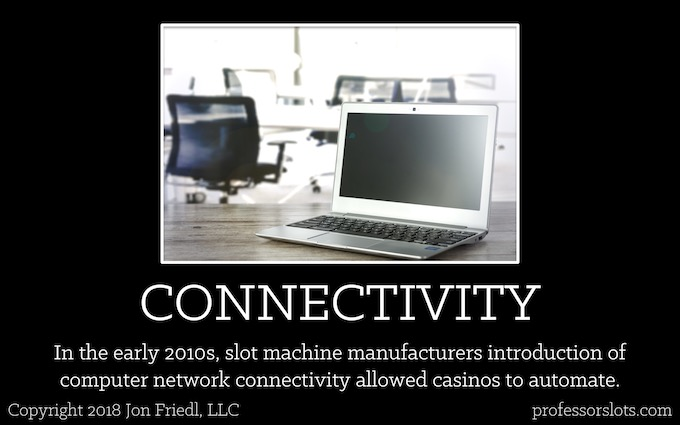 In the early 2010s, slot machine manufacturers introduction of computer network connectivity allowed casinos to automate (Who Controls Slot Machine Odds).
