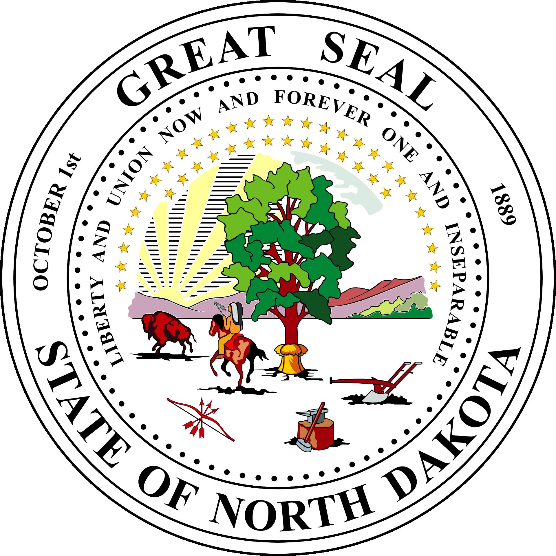 The Seal of the State of North Dakota and North Dakota Slot Machine Casino Gambling.