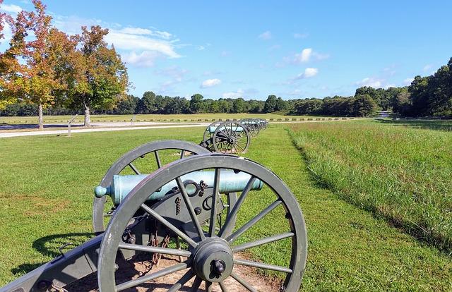Row of Cannons at an Arkansas Civil War Monument (Arkansas Slot Machine Casino Gambling 2018).