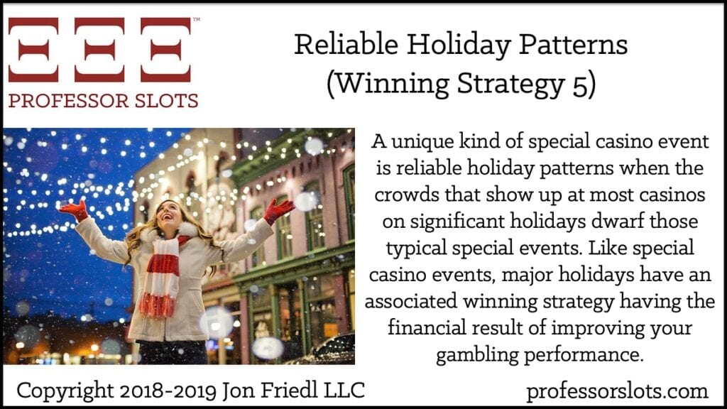 A unique kind of special casino event is reliable holiday patterns when the crowds that show up at most casinos on significant holidays dwarf those typical special events. Like special casino events, major holidays have an associated winning strategy having the financial result of improving your gambling performance.