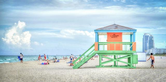 South Beach in the city of Miami Beach [Florida Slot Machine Casino Gambling 2018].