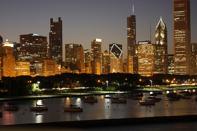 Chicago Skyline at Night [Illinois Slot Machine Casino Gambling 2018]
