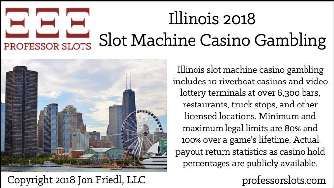 Illinois slot machine casino gambling includes 10 riverboat casinos and video lottery terminals at over 6,300 bars, restaurants, truck stops, and other licensed locations. Minimum and maximum legal limits are 80% and 100% over a game's lifetime. Actual payout return statistics as casino hold percentages are publicly available.