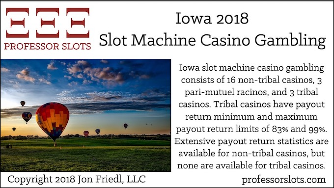 Iowa slot machine casino gambling consists of 16 non-tribal casinos, 3 pari-mutuel racinos, and 3 tribal casinos. Tribal casinos have payout return minimum and maximum payout return limits of 83% and 99%. Extensive payout return statistics are available for non-tribal casinos, but none are available for tribal casinos.