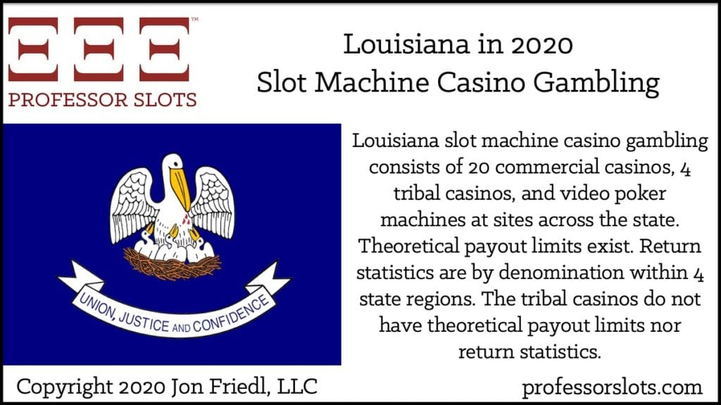 Louisiana slot machine casino gambling consists of 20 commercial casinos, 4 tribal casinos, and video poker machines at sites across the state. Theoretical payout limits exist. Return statistics are by denomination within 4 state regions. The tribal casinos do not have theoretical payout limits nor return statistics.