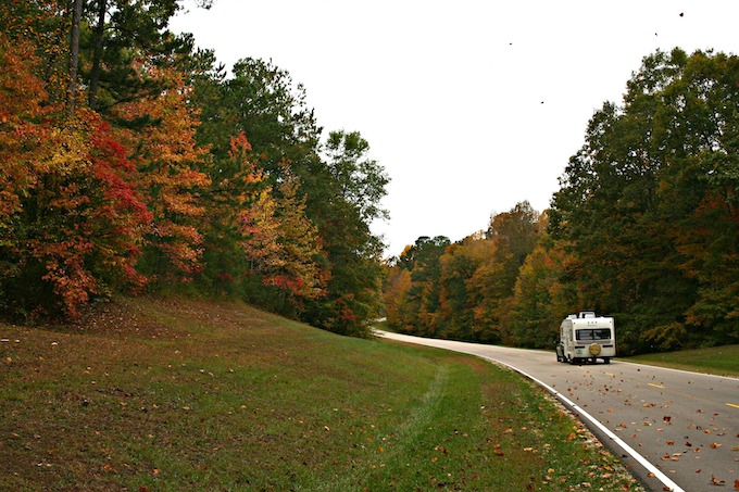 RV on Two-Lane Road in Autumn [Mississippi Slot Machine Casino Gambling 2019]