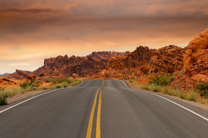 Road Toward Red Rock Formations [Nevada Slot Machine Casino Gambling 2019]