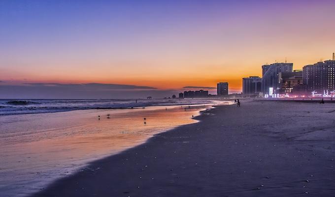 The Atlantic City Beach at Sunset [New Jersey Slot Machine Casino Gambling 2019]