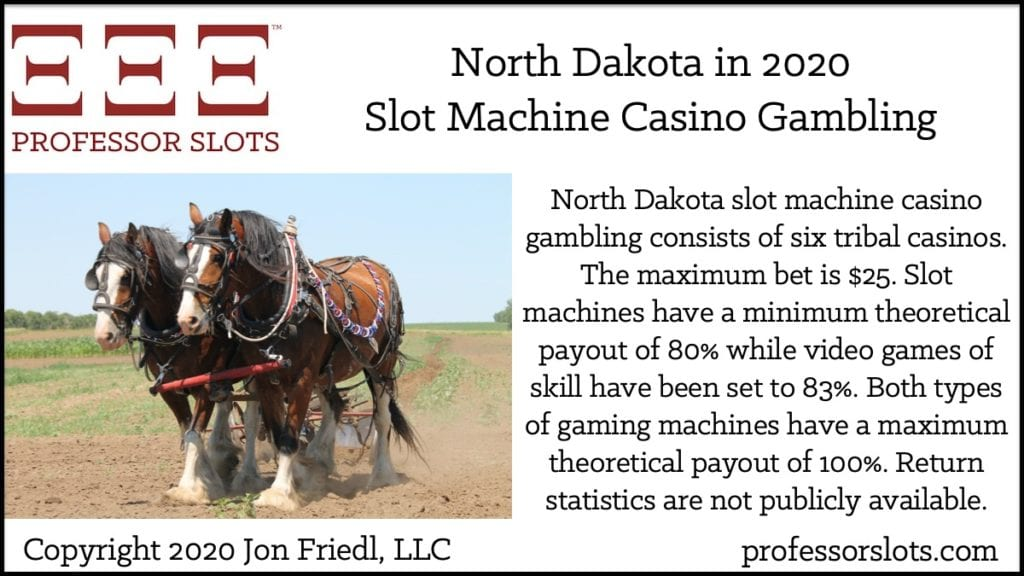North Dakota slot machine casino gambling consists of six tribal casinos. The maximum bet is $25. Slot machines have a minimum theoretical payout of 80% while video games of skill have been set to 83%. Both types of gaming machines have a maximum theoretical payout of 100%. Return statistics are not publicly available.