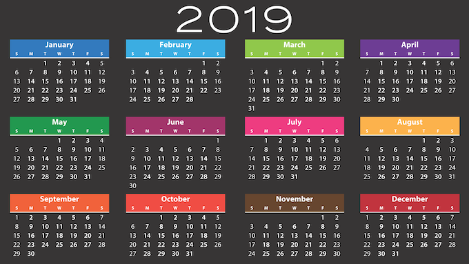 2019 Calendar [Reviewing Scientific Games Corporation 2019]