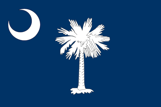 State Flag with Palmetto Tree and White Crescent [South Carolina Slot Machine Casino Gambling 2019]
