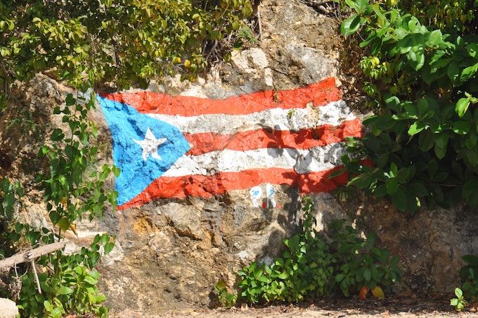 Territorial Flag Painted on a Cliff [Puerto Rico Slot Machine Casino Gambling 2019]