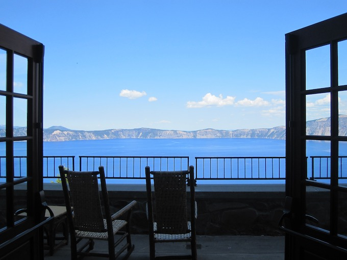 Patio Overlooking Crater Lake [Oregon Slot Machine Casino Gambling 2019]