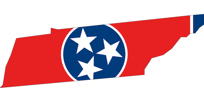 State Outline and Flag [Tennessee Slot Machine Casino Gambling 2019]