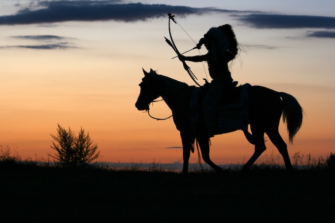 Apache Chief with Bow on Horse [American Indian Tribal Casinos]