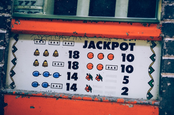Antique slot machine displaying fruit [Fruit Reel Symbols]