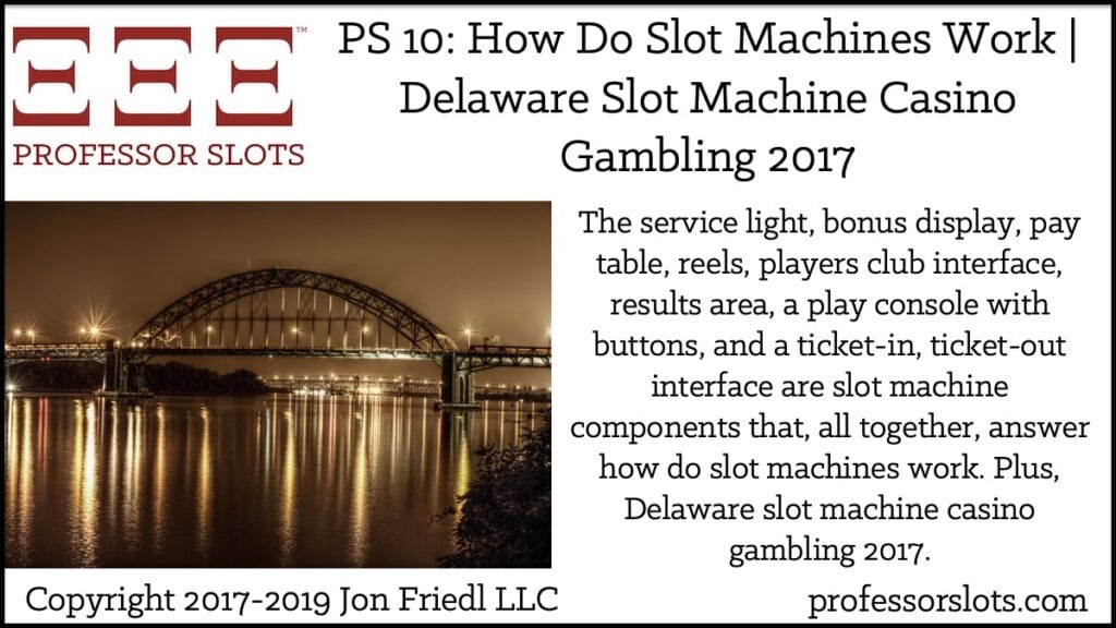 The service light, bonus display, pay table, reels, players club interface, results area, a play console with buttons, and a ticket-in, ticket-out interface are slot machine components that, all together, answer how do slot machines work. Plus, Delaware slot machine casino gambling 2017.