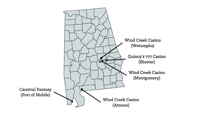 Map of Alabama Casinos [Alabama Slot Machine Casino Gambling in 2019]