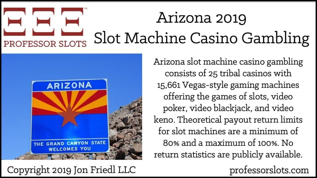 Arizona slot machine casino gambling consists of 25 tribal casinos with 15,661 Vegas-style gaming machines offering the games of slots, video poker, video blackjack, and video keno. Theoretical payout return limits for slot machines are a minimum of 80% and a maximum of 100%. No return statistics are publicly available.