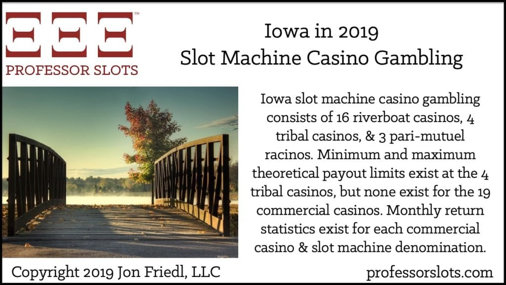 Iowa slot machine casino gambling consists of 16 riverboat casinos, 4 tribal casinos, & 3 pari-mutuel racinos. Minimum and maximum theoretical payout limits exist at the 4 tribal casinos, but none exist for the 19 commercial casinos. Monthly return statistics exist for each commercial casino & slot machine denomination.