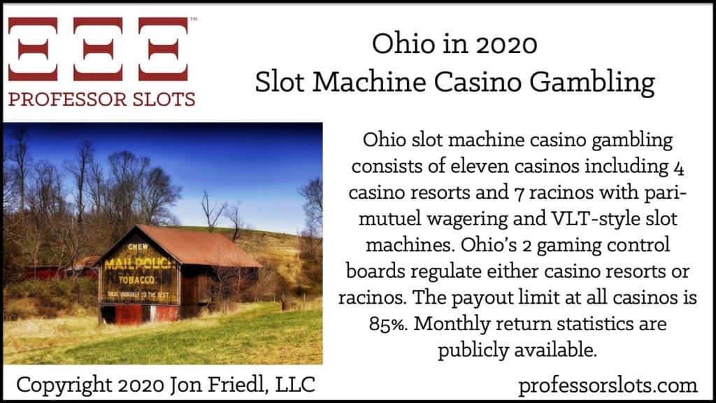 Ohio slot machine casino gambling consists of eleven casinos including 4 casino resorts and 7 racinos with pari-mutuel wagering and VLT-style slot machines. Ohio's 2 gaming control boards regulate either casino resorts or racinos. The payout limit at all casinos is 85%. Monthly return statistics are publicly available.