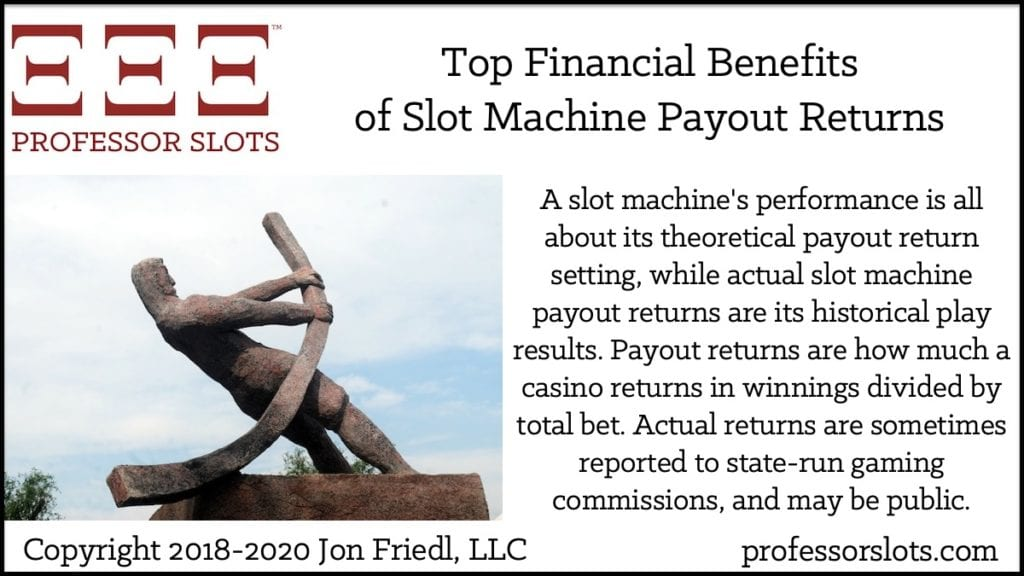 A slot machine's performance is all about its theoretical payout return setting, while actual slot machine payout returns are its historical play results. Payout returns are how much a casino returns in winnings divided by total bet. Actual returns are sometimes reported to state-run gaming commissions, and may be public.